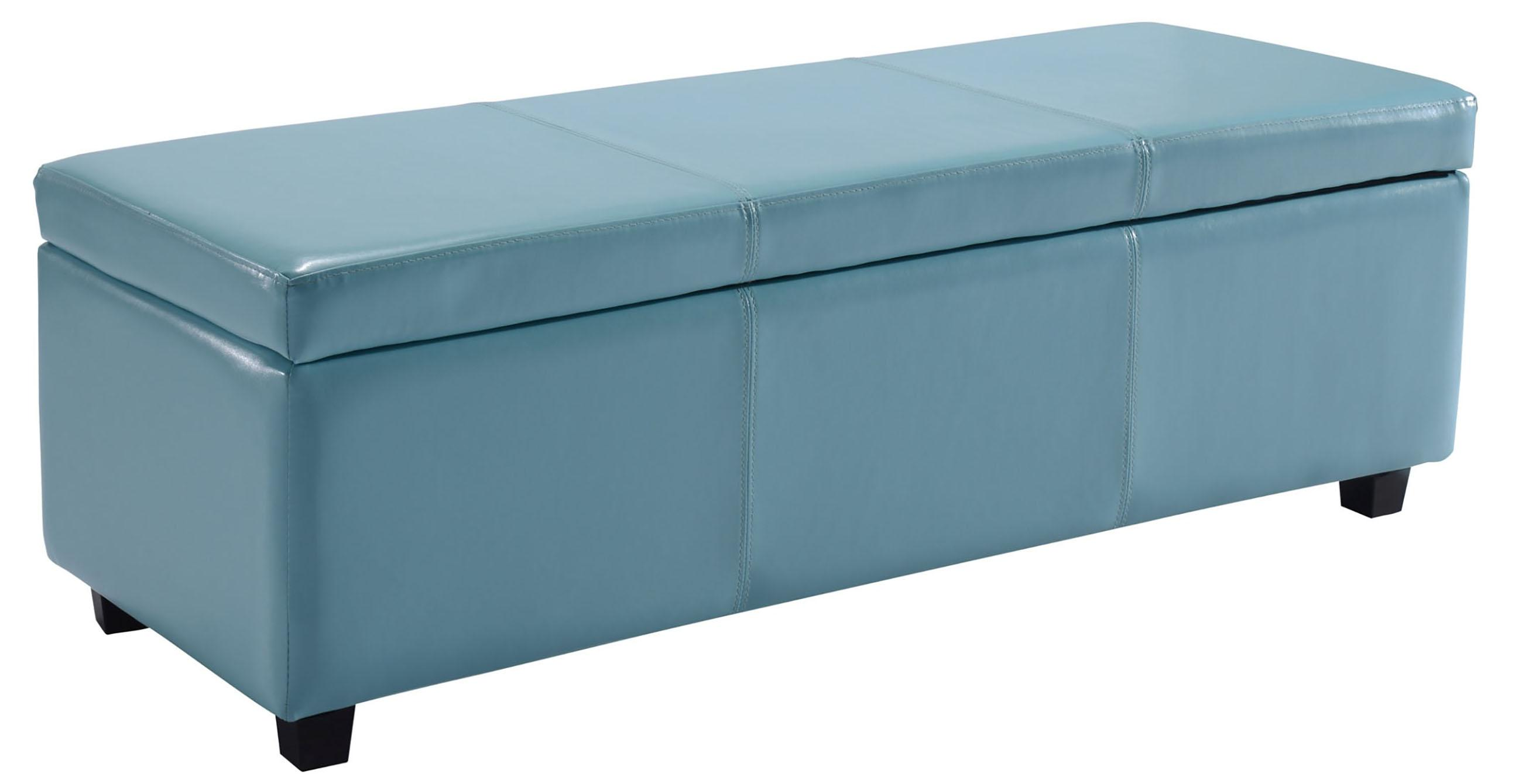 Simpli Home Avalon Rectangular Faux Leather Storage Ottoman Bench Large Blue