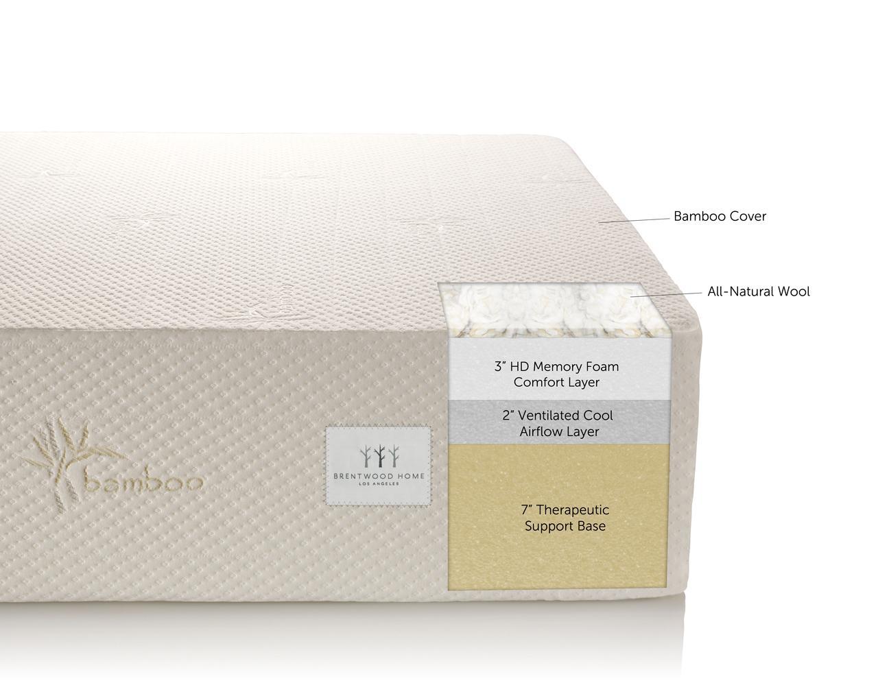 "Amazon Brentwood 12"" HD Memory Foam Mattress 100%"