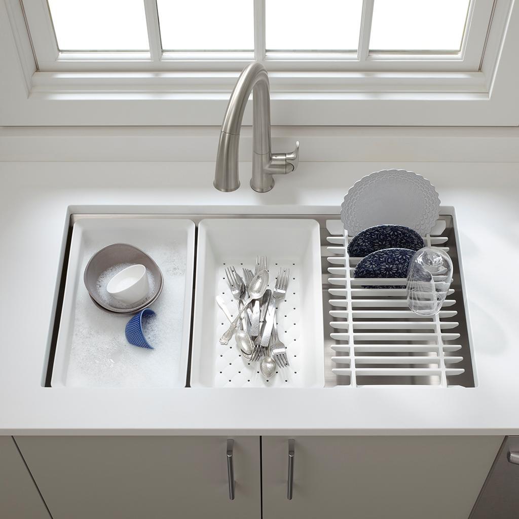 Kohler k 5540 na prolific undermount single bowl kitchen - Stainless steel kitchen sink accessories ...
