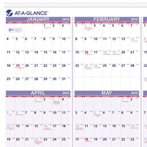 AT-A-GLANCE Yearly Wall Calendar 2015, 24 x 36 Inch Page Size (PM12-28 ...