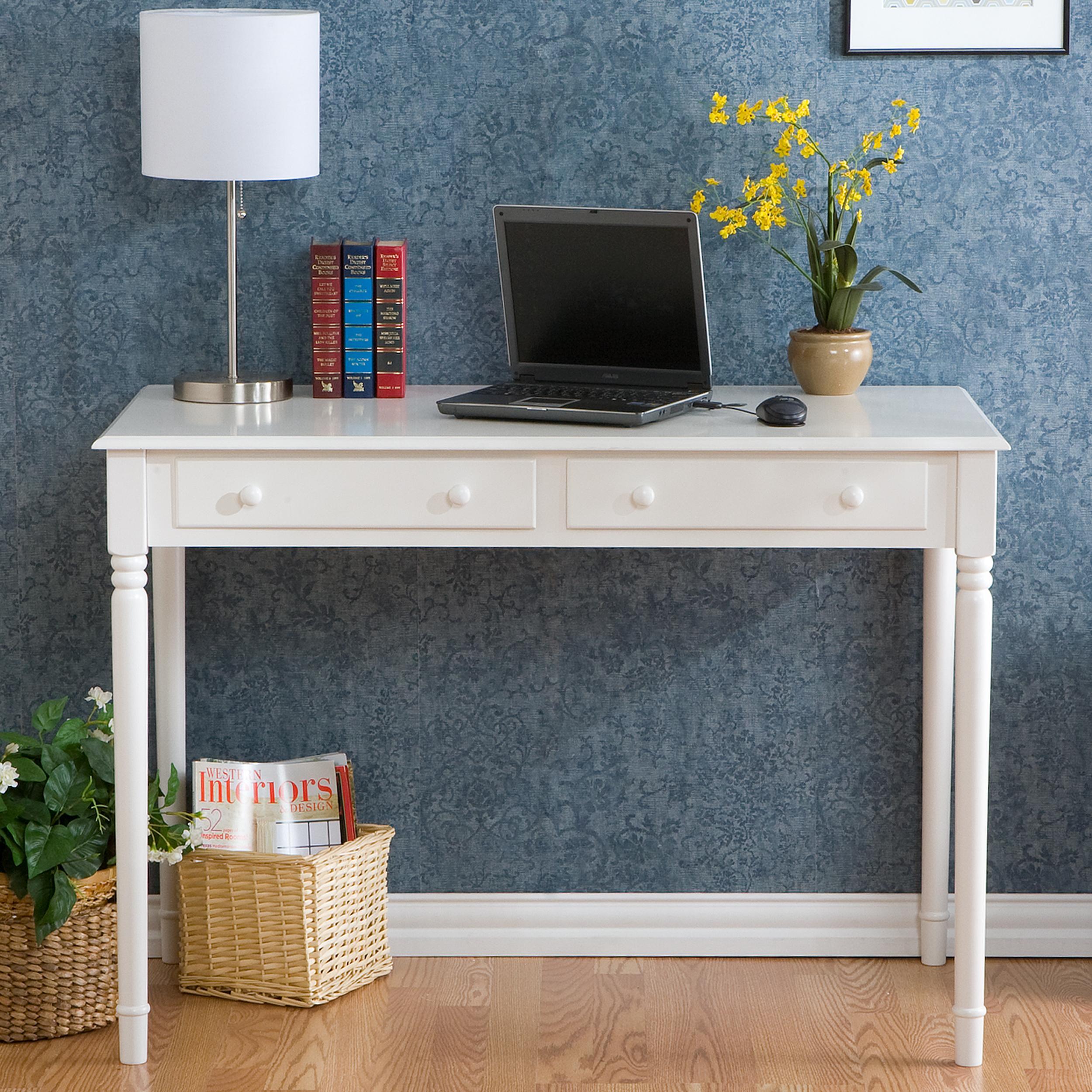 Amazon SEI 2 Drawer Wood Writing Desk Crisp White