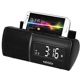 jensen jbd100 universal bluetooth clock radio with charging for s. Black Bedroom Furniture Sets. Home Design Ideas