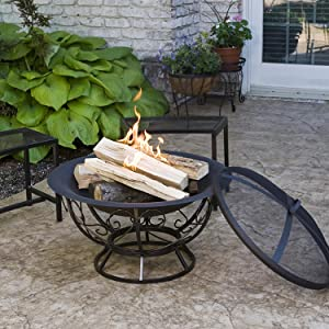 CobraCo Steel Fire Pit with Scroll Base in use