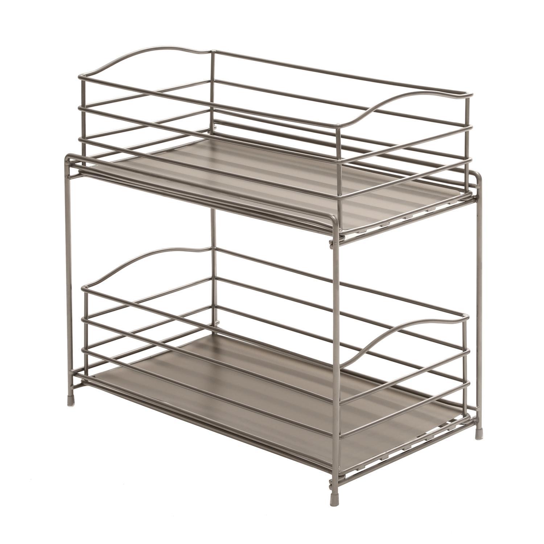 Seville classics 2 tier sliding basket for Basket for kitchen cabinets