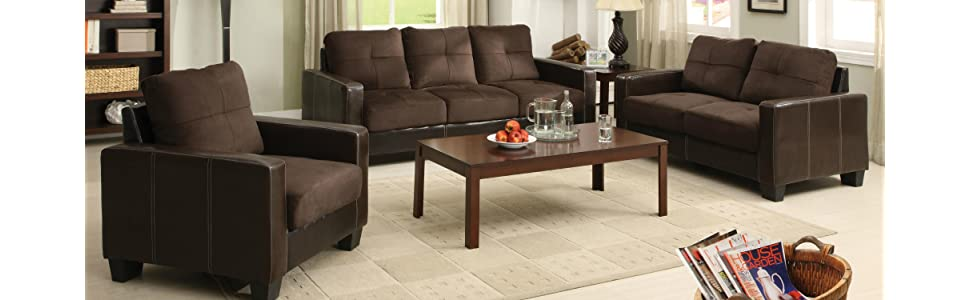 Furniture of america nappa 3 piece microfiber for 8 piece living room furniture