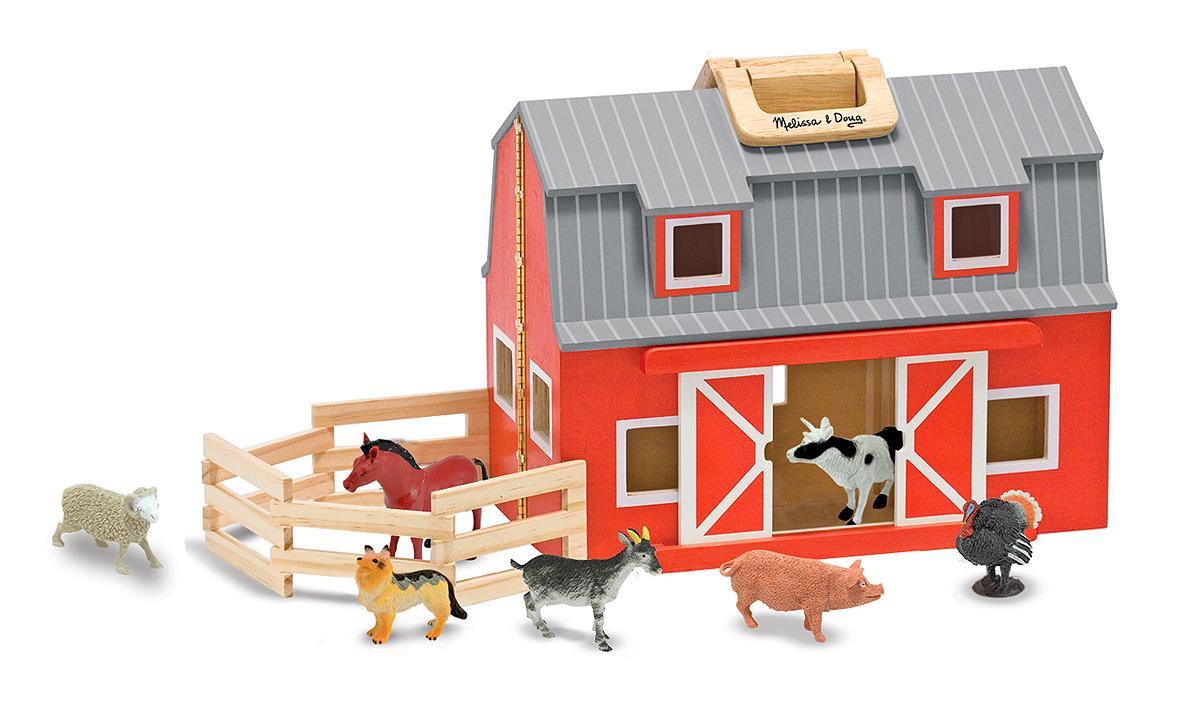 Amazon.com: Melissa & Doug Fold & Go Wooden Barn: Melissa & Doug: Toys