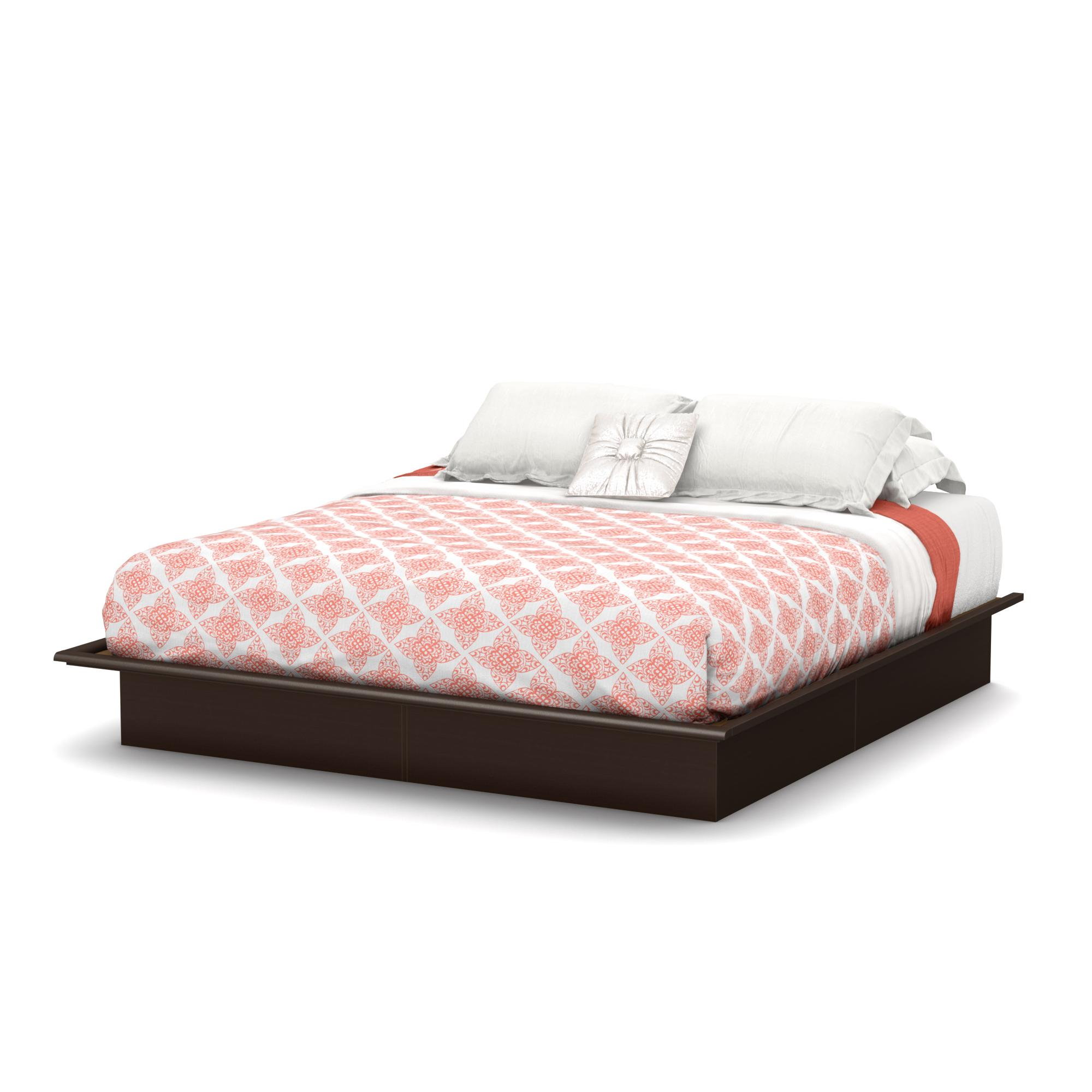 South shore step one platform bed with for Platform bed