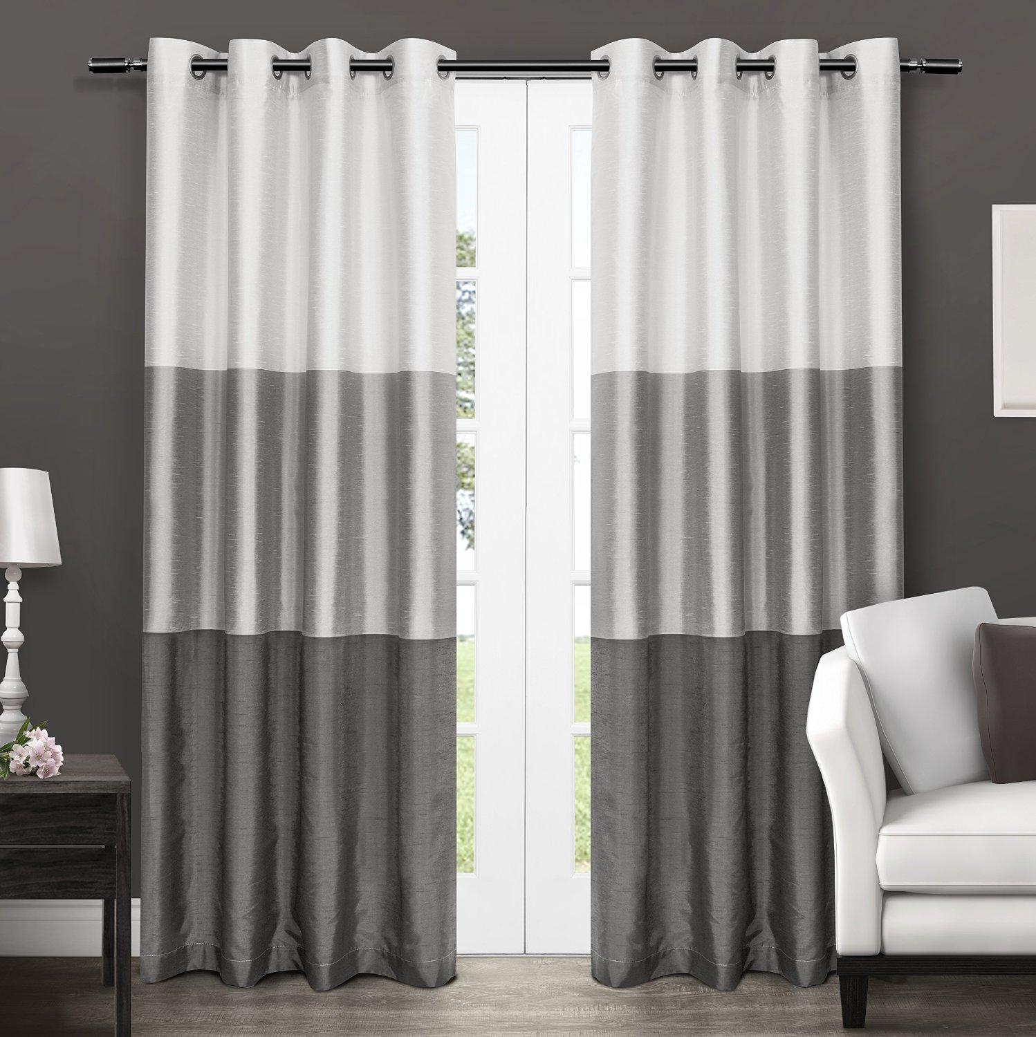 Exclusive Home Chateau Striped Faux Silk Grommet Top Window Curtain Panels 54 X
