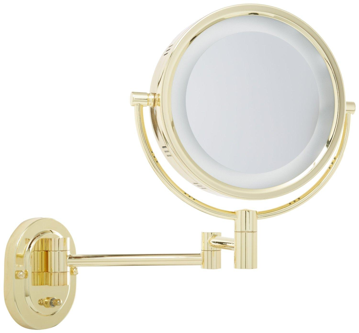 Jerdon hl65g 8 inch lighted wall mount makeup for Wall mounted makeup mirror