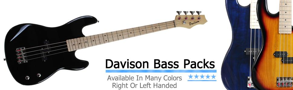 right and left handed bass guitars with amp packages