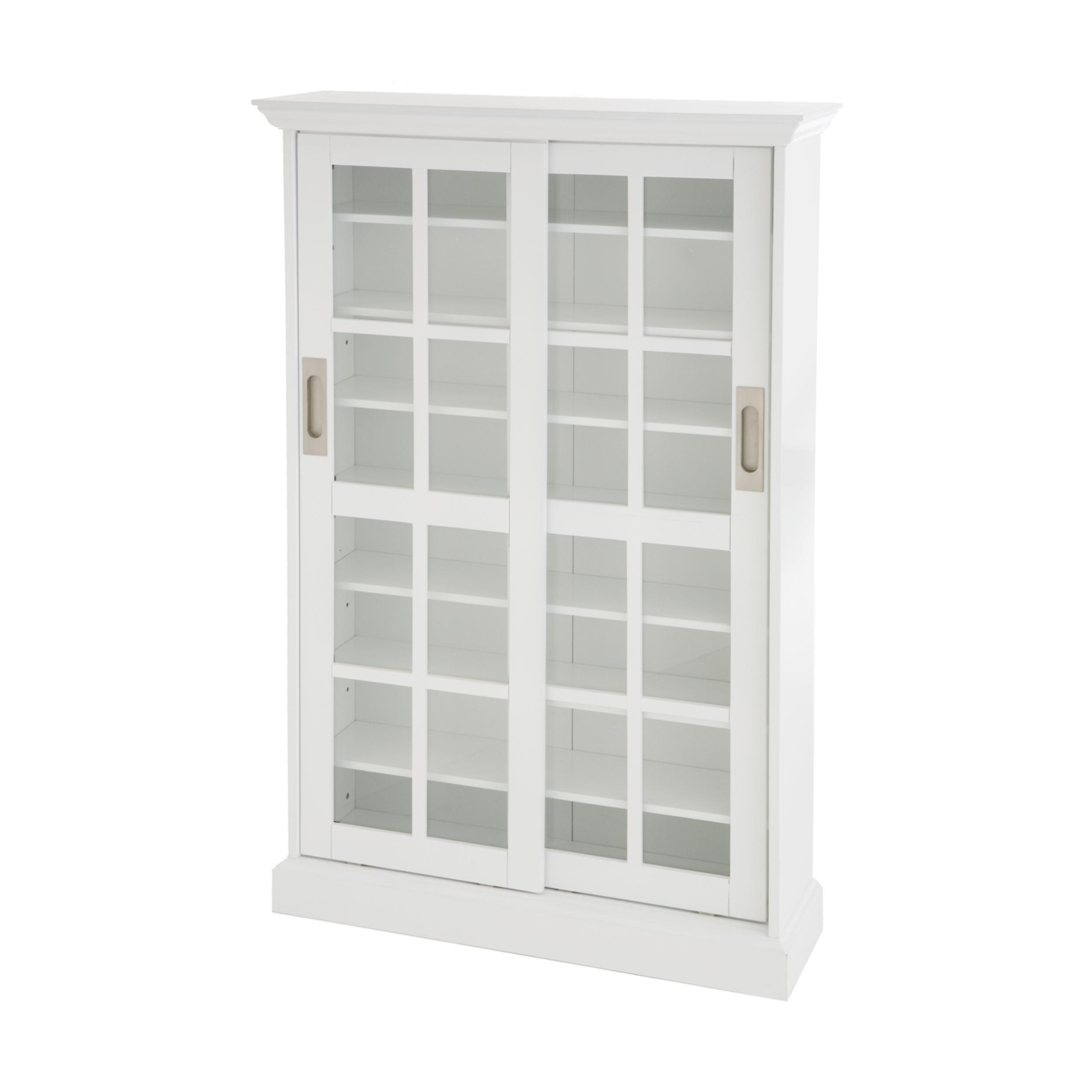 SEI Sliding Door Glass Front Media Cabinet White