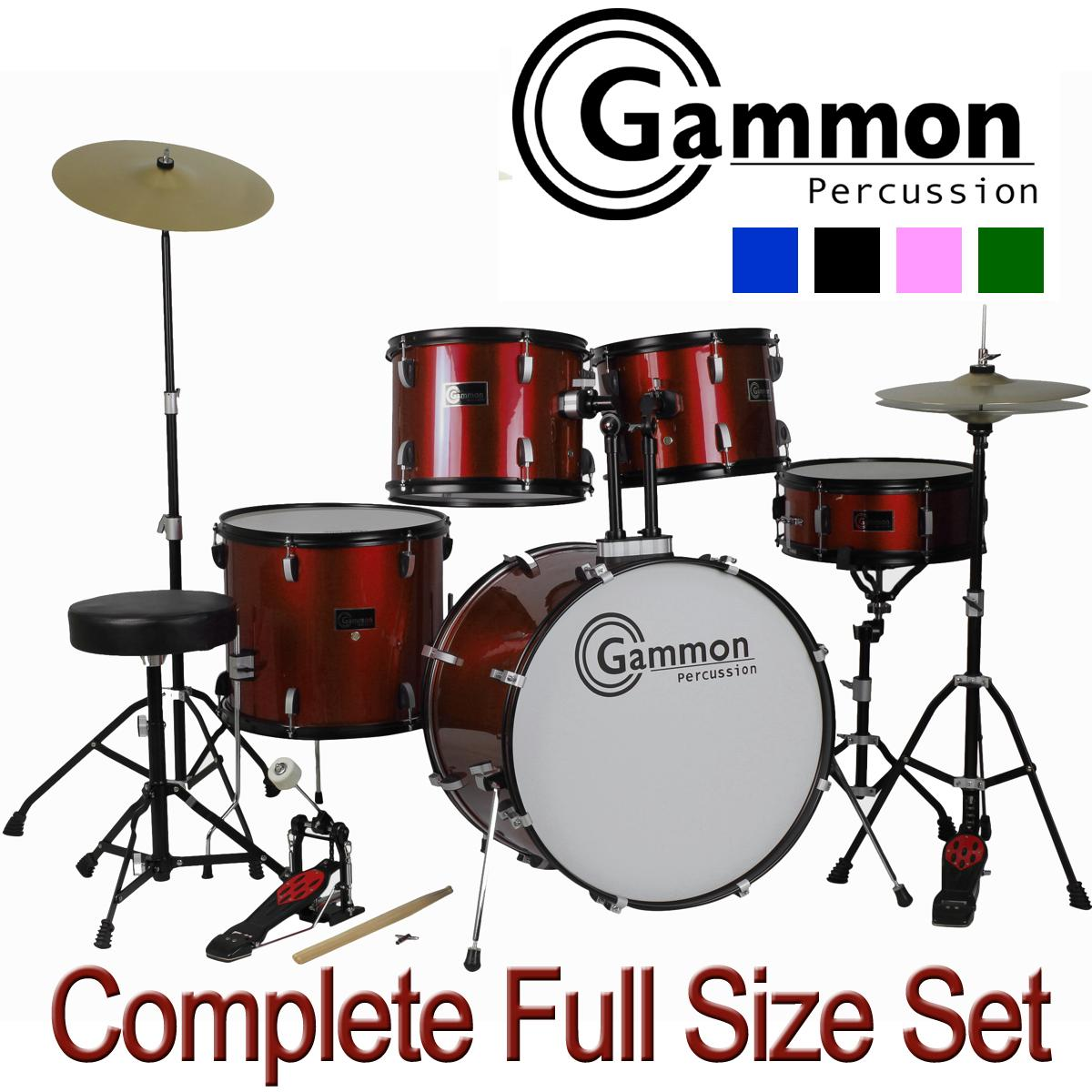 Amazon Com Drum Set Full Size Adult 5 Piece Complete
