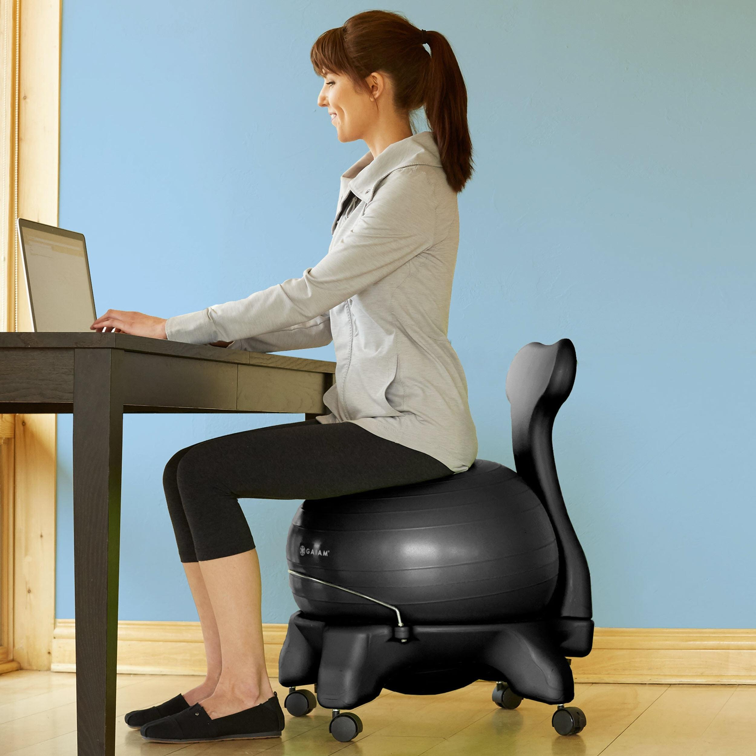 Gaiam Balance Ball Chair Inflation: Amazon.com : Gaiam Balance Ball Chair (Black) : Exercise