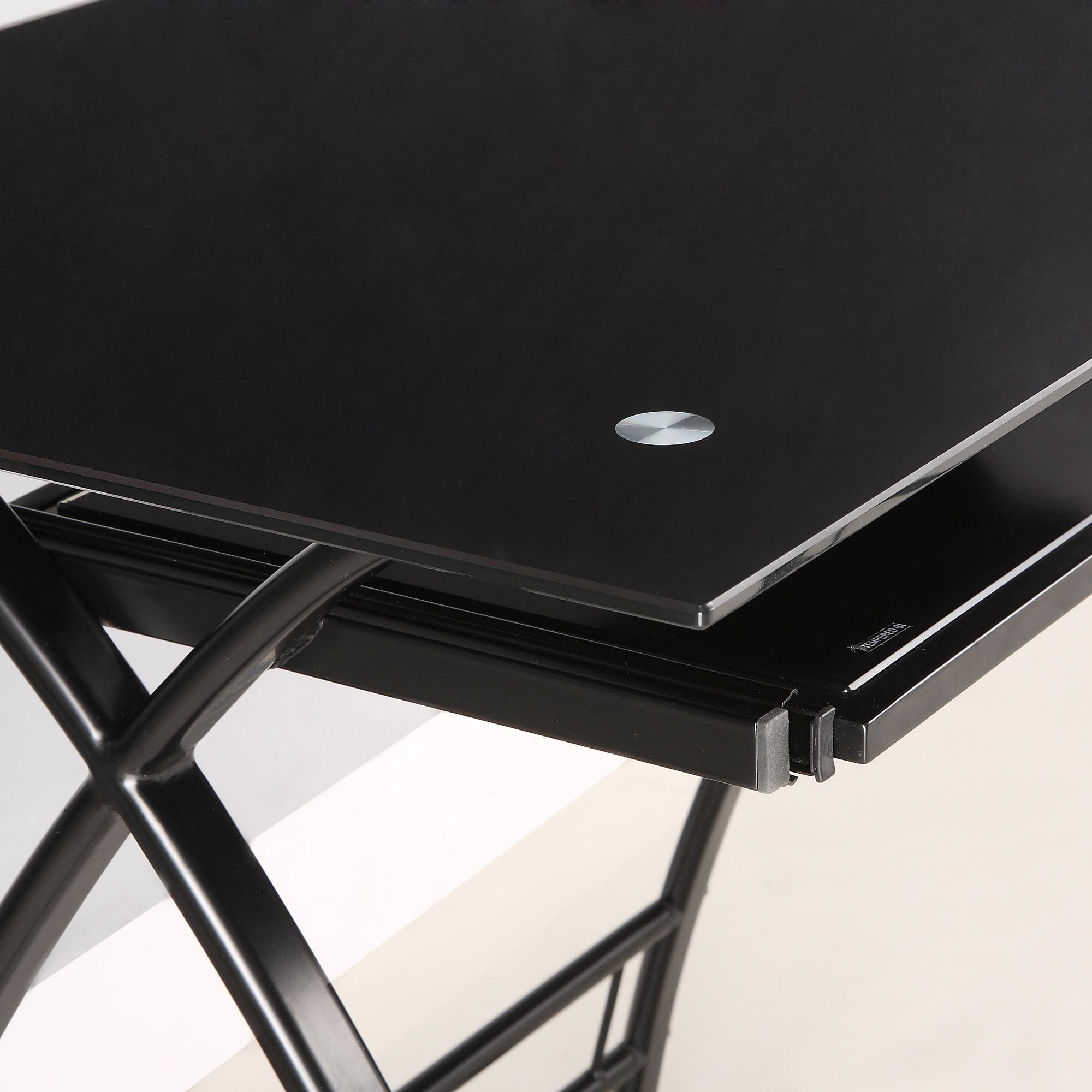 Glass Metal Black Corner Computer Desk
