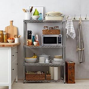 shelving unit 4 metal shelves chrome for garage storage. Black Bedroom Furniture Sets. Home Design Ideas