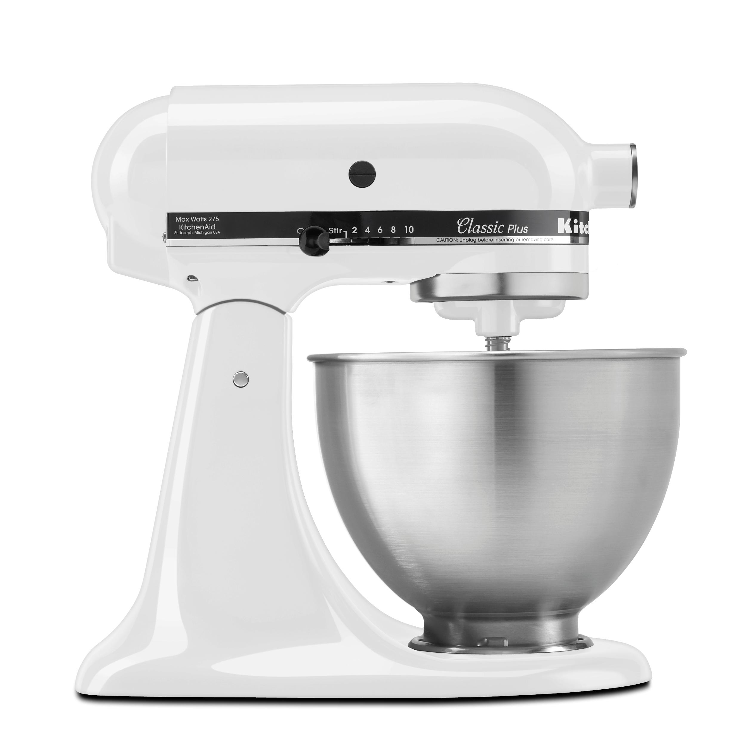 kitchenaid ksm75wh classic plus stand mixer white with transformer