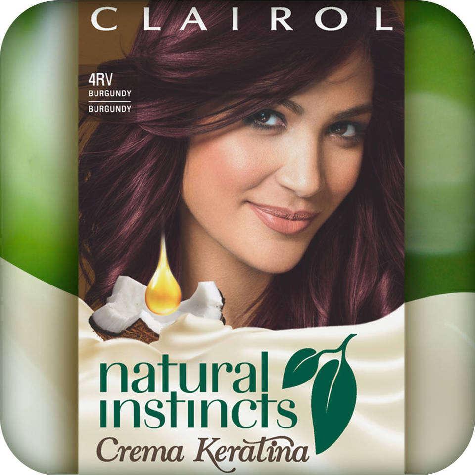 Clairol Natural Instincts Crema Keratina Hair Color Kit, Burgundy 4RV