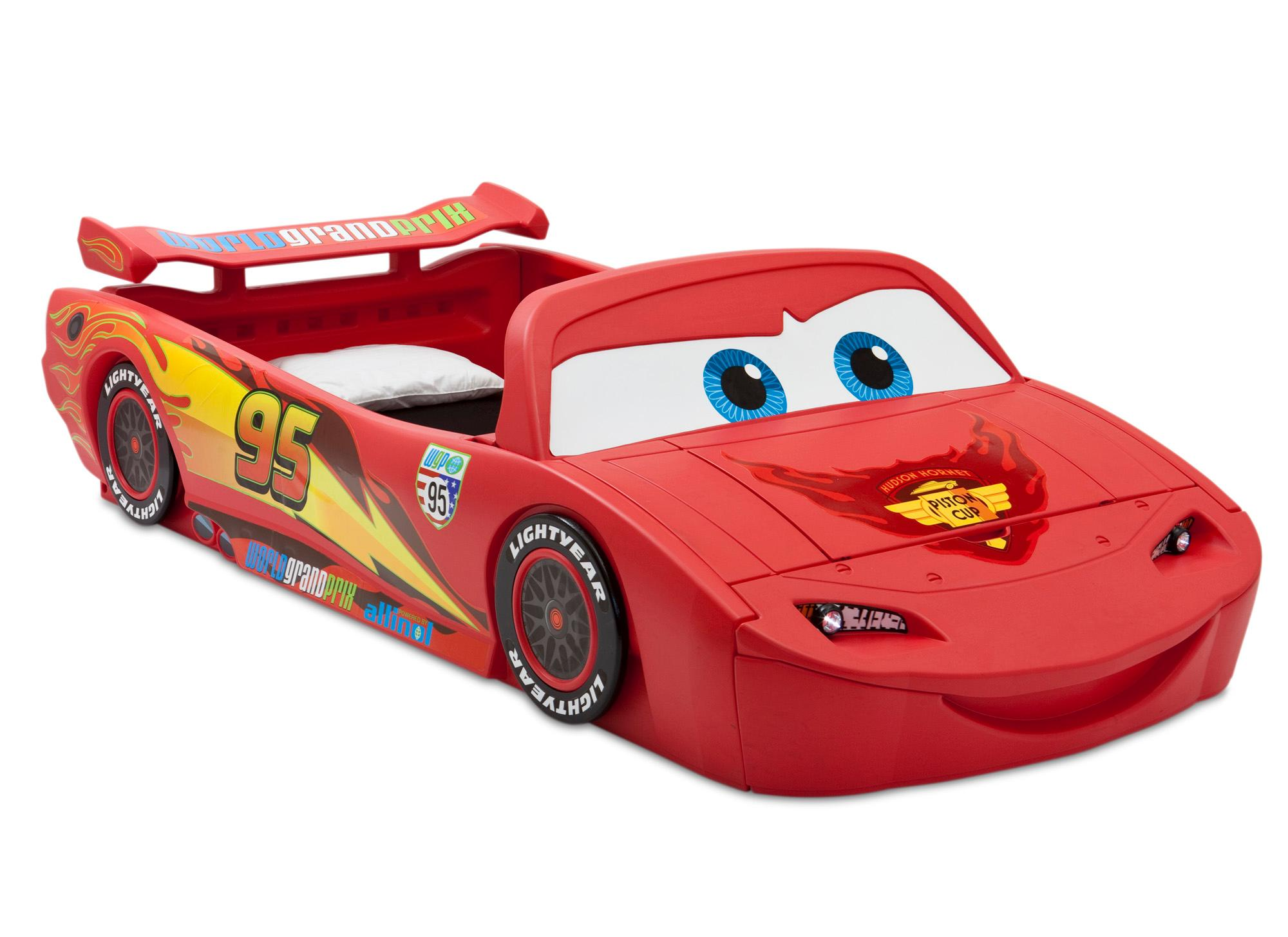 Delta Children Cars Lightning Mcqueen Toddler To Twin Bed With Lights And Toy Box