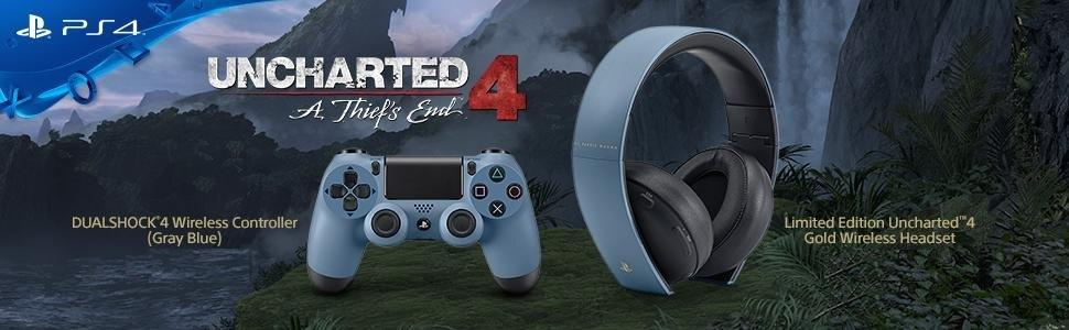 dualshock;ps4;uncharted;controller;headset;chat;limited;grayblue;ds4;playstation;wireless