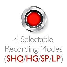 Recording Mode Selectable (SHQ/HQ/SP/LP)