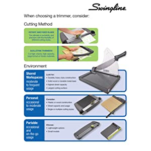 Swingline, paper trimmer, guillotine paper cutter, guillotine paper trimmer
