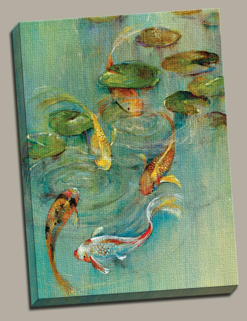 Koi fish pond fishing canvas wall art painting gallery for Koi artwork on canvas