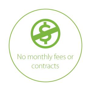 No monthly fees/contracts