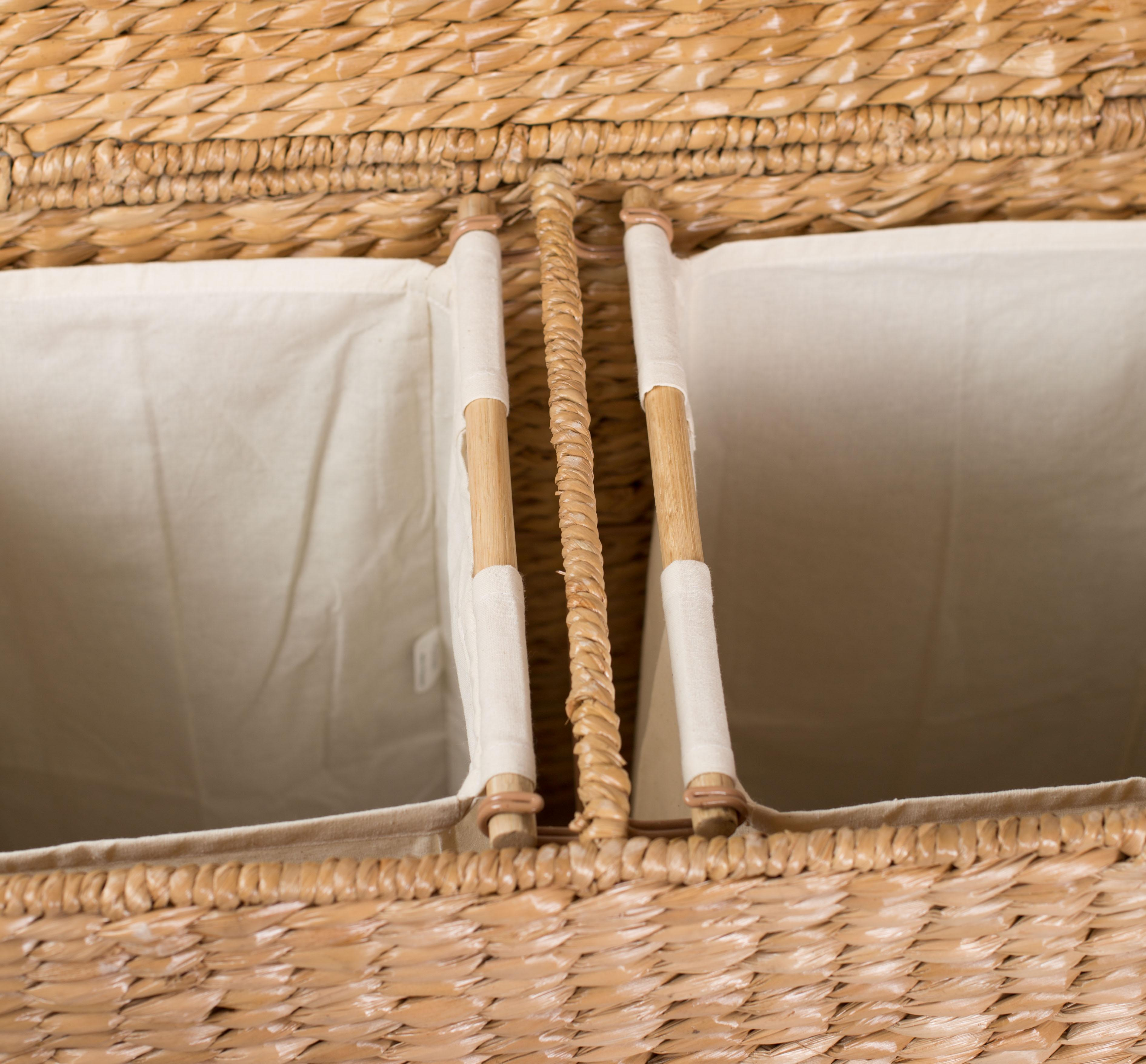 Hamper 2 sections hamper 2 compartments laundry hamper clothes hamper clothes hamper 2 sections - Divided wicker basket ...