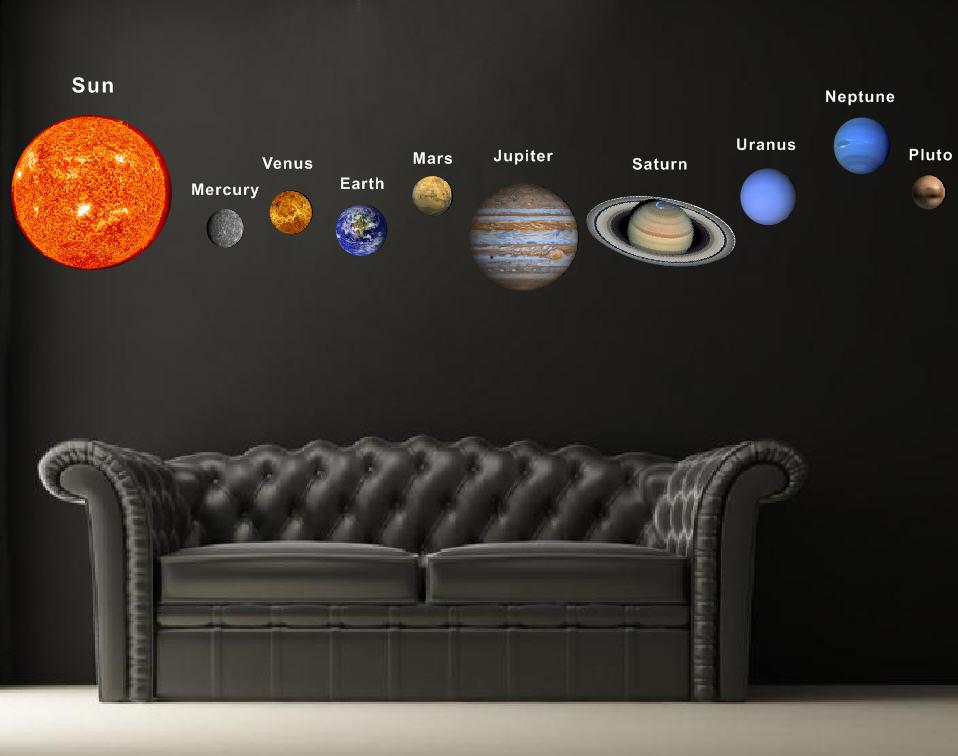 Pop decors fabric wall sticker solar planets for Space decals