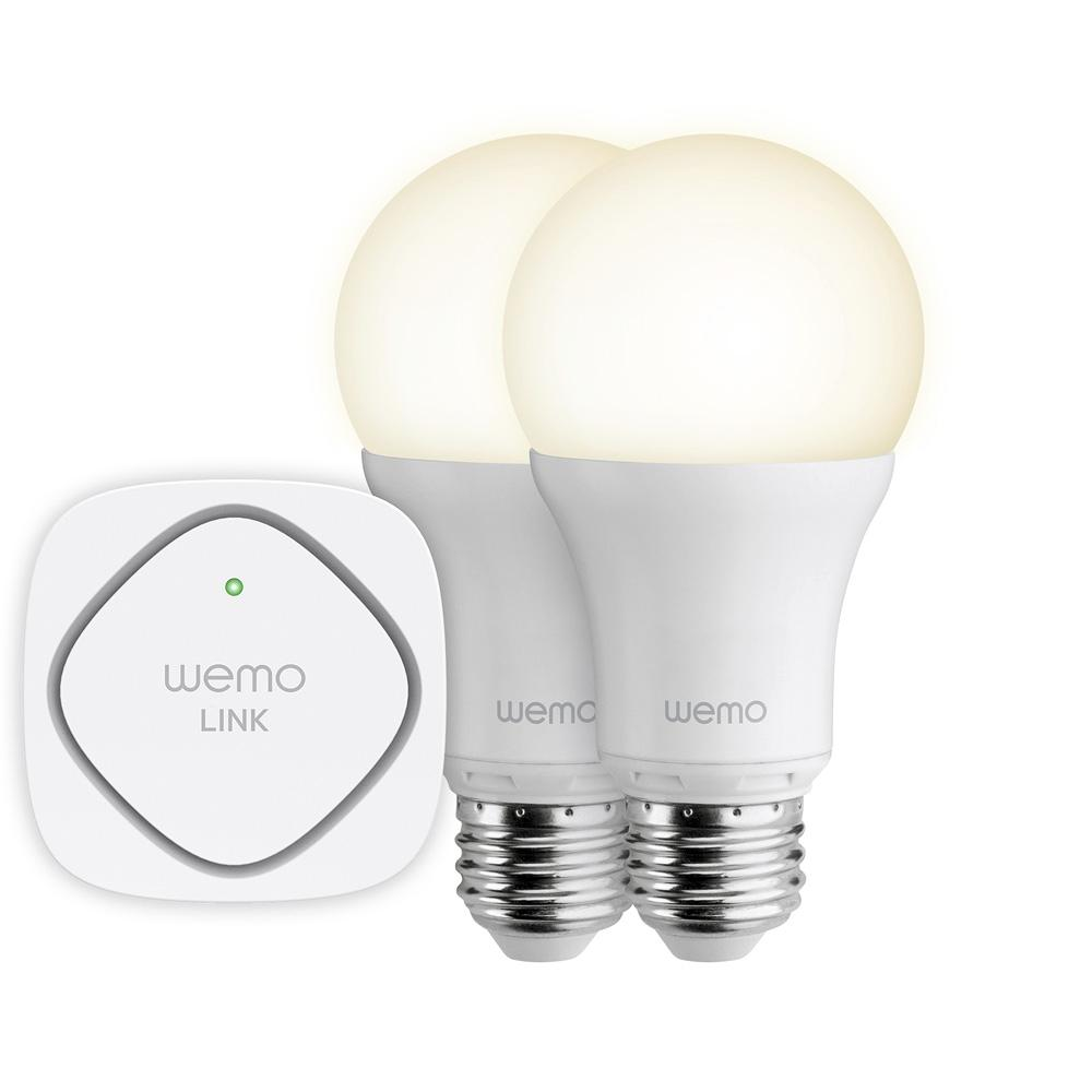 Belkin wemo led lighting starter set two wemo smart light bulbs and wemo link to Smart light bulbs