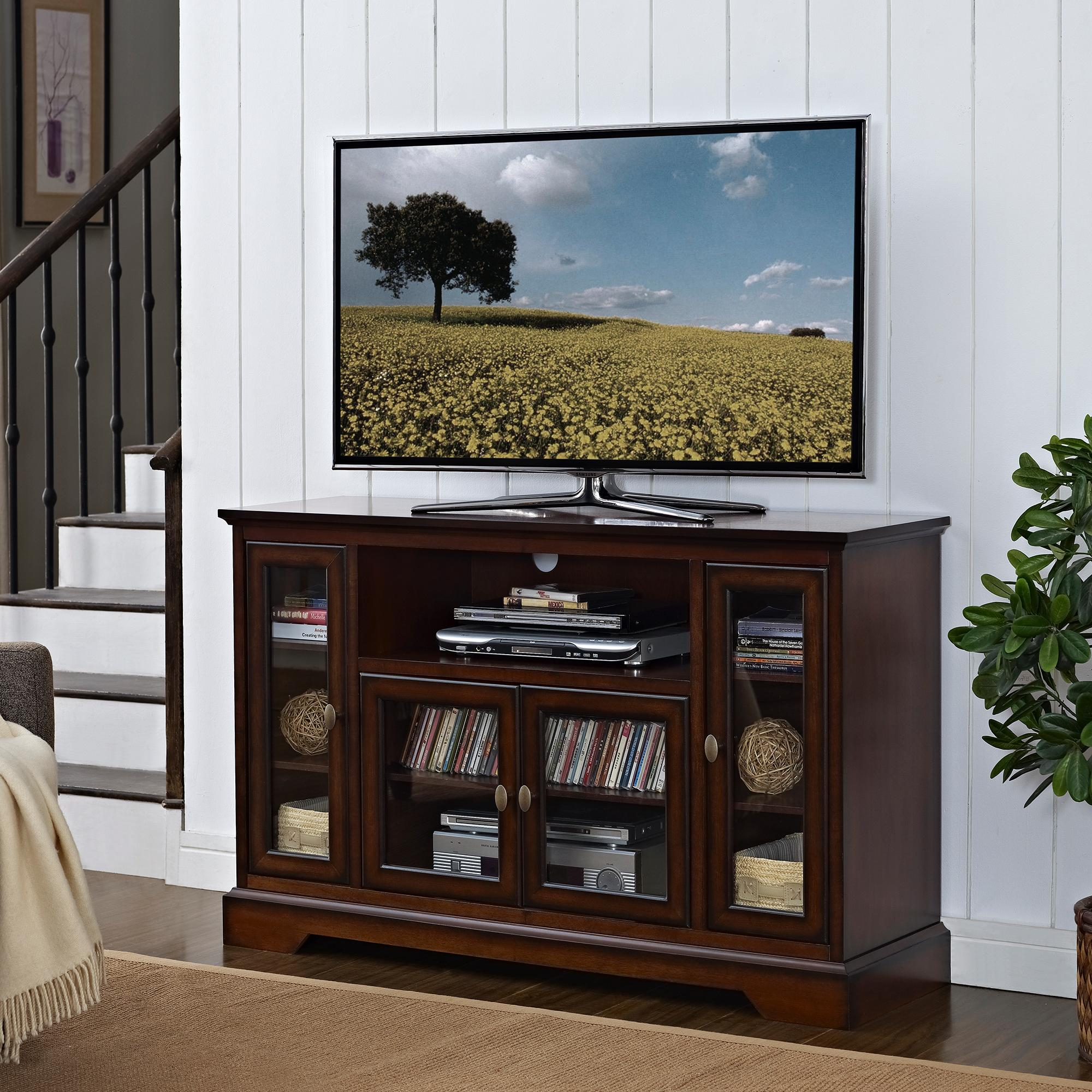 Highboy Wood TV Stand, 52-Inch, Antique Brown - Television Stands