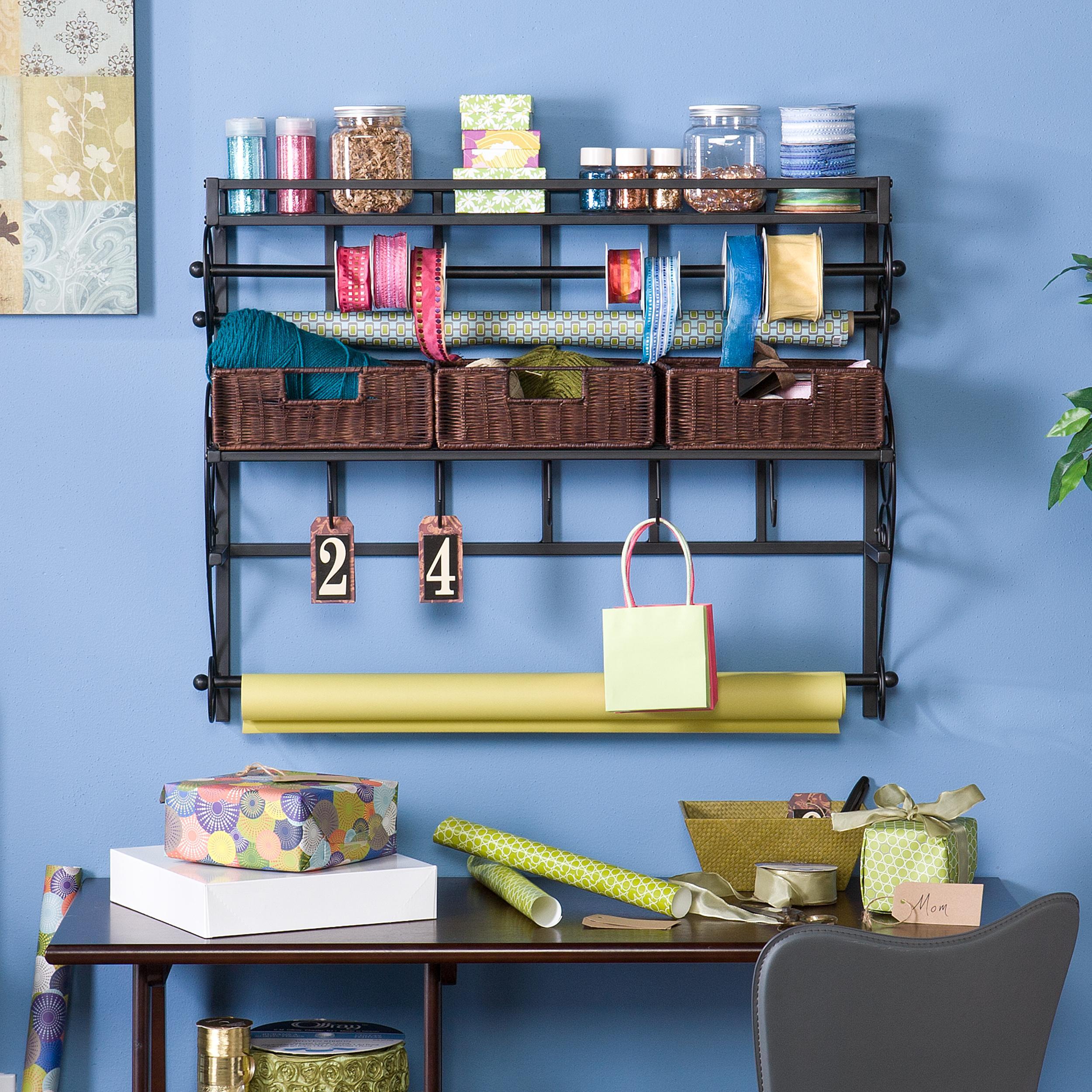 southern enterprises hz6245 wall mount craft storage rack with baskets black. Black Bedroom Furniture Sets. Home Design Ideas