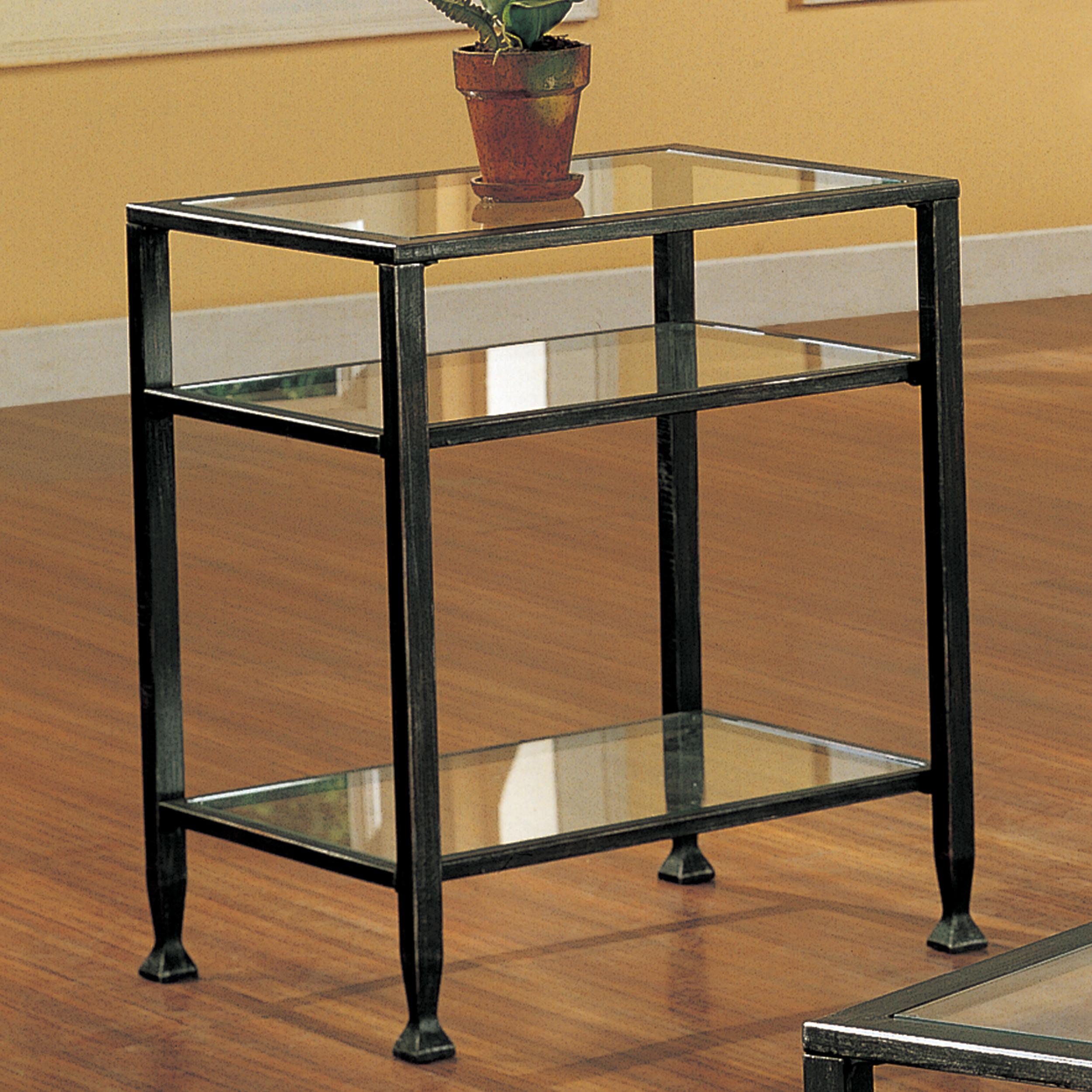 Sei bunching metal end table glass side table for Glass end tables