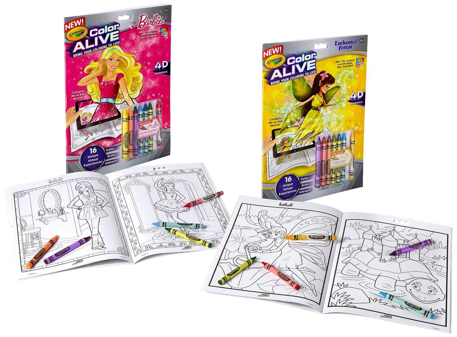 crayola color alive action coloring pages combo set barbie and enchanted forest