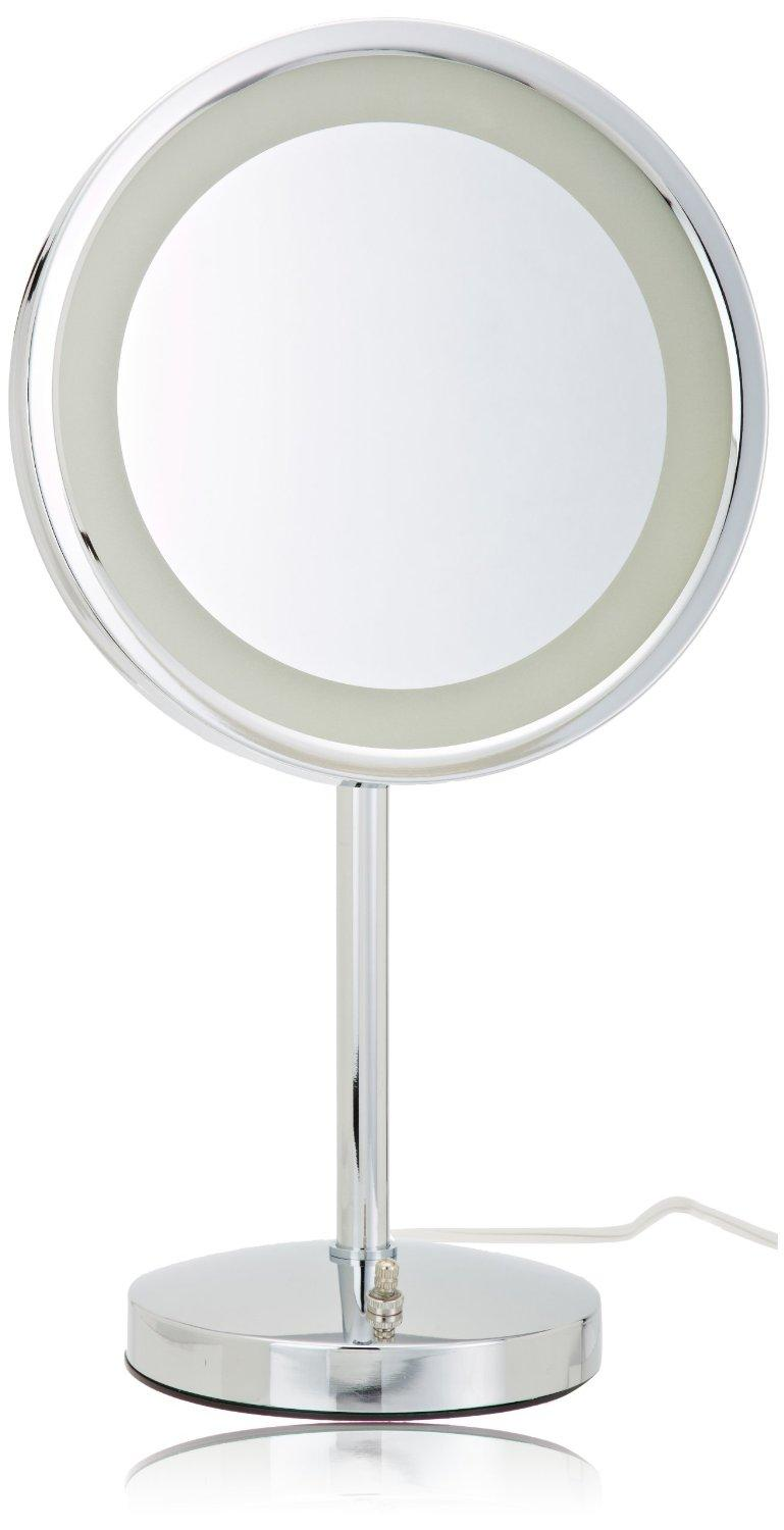jerdon hl1015cl 9 5 inch led lighted vanity mirror with 5x magnification chrome. Black Bedroom Furniture Sets. Home Design Ideas