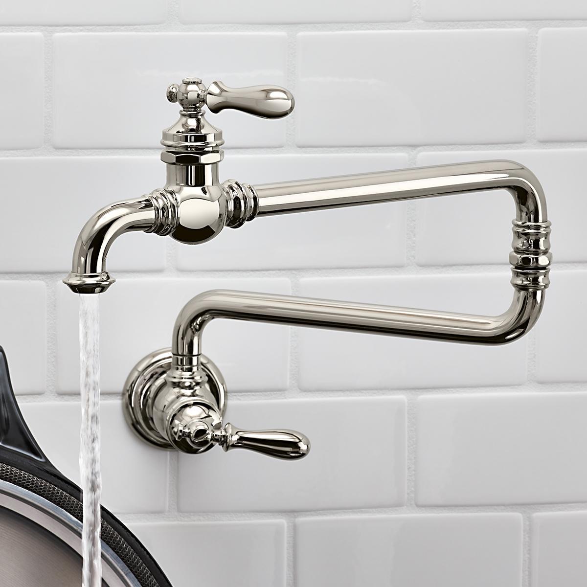 2018 Dual Holder Wall Mount Kitchen Faucet Kitchen Brass: KOHLER 99271-SN Artifacts Single-Hole Deck-Mount Pot