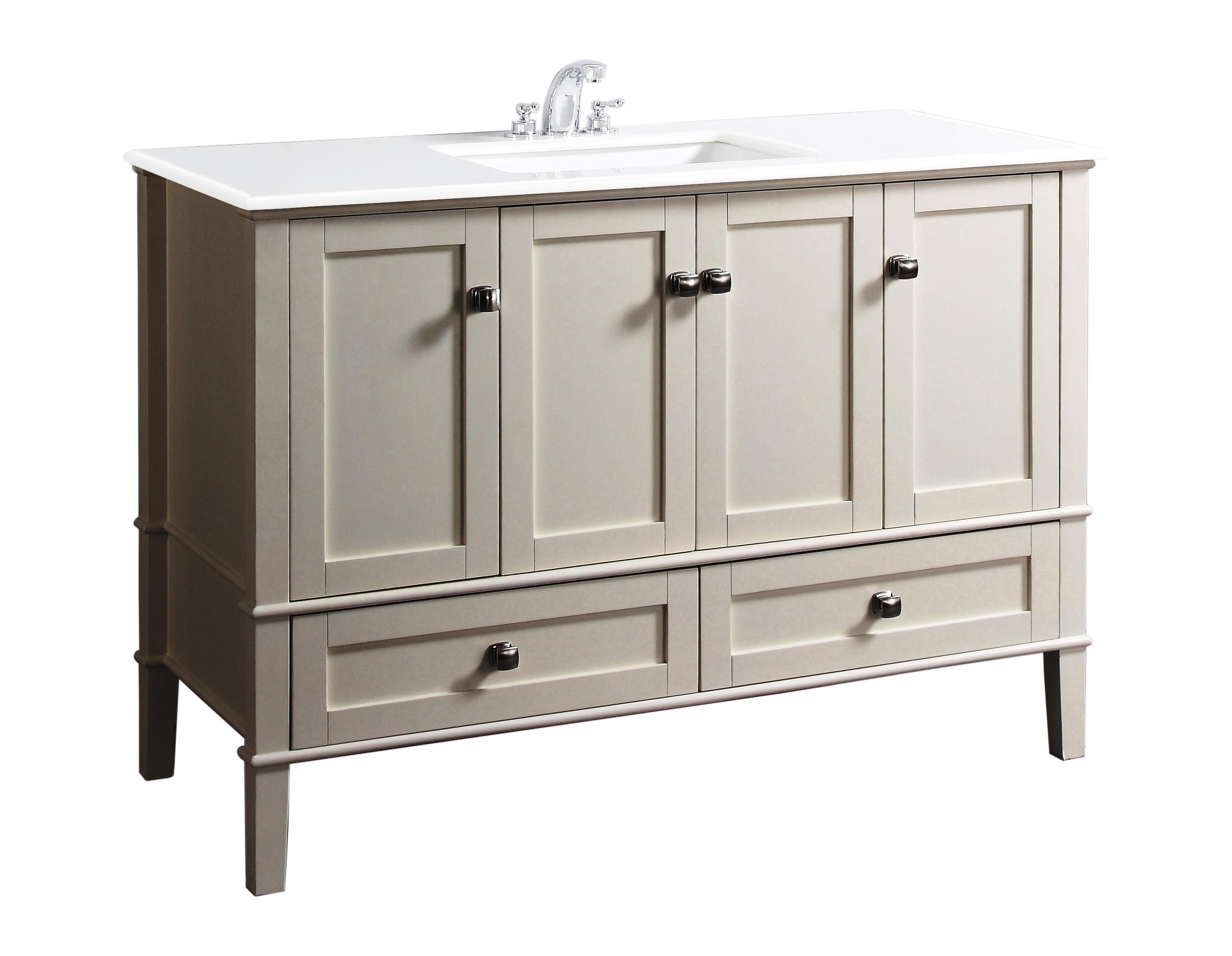 "Simpli Home Chelsea 49"" Bath Vanity Soft White Bathroom"