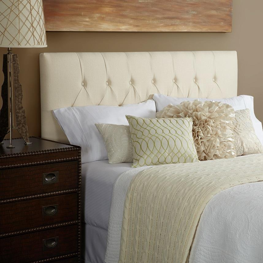 ... Haute Harlow Linen Diamond Tufted Upholstered Headboard, Full, Ivory