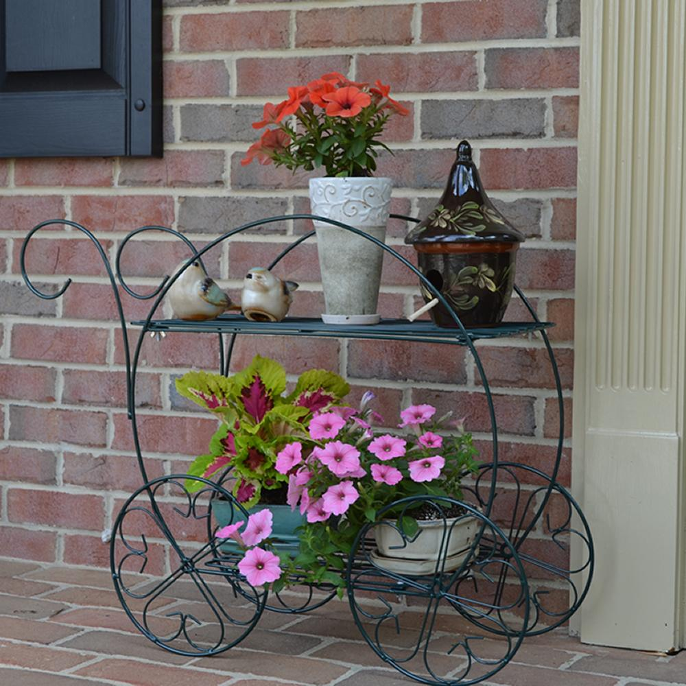 Plant Patio Stand Flower Garden 2 Tiered Cart Indoor
