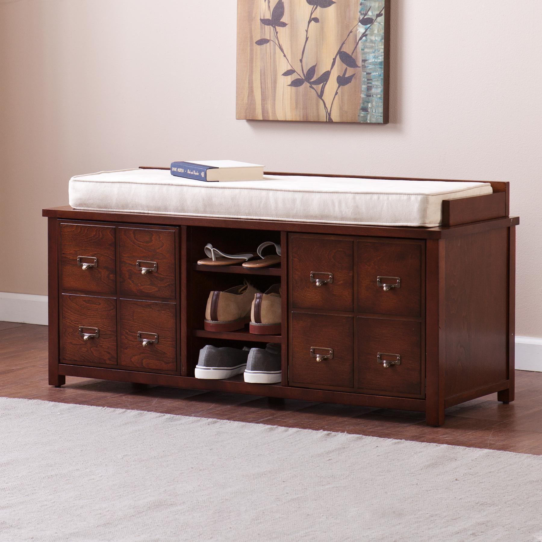 Southern Enterprises Alto Apothecary Storage Bench Large Dark Cherry Furniture