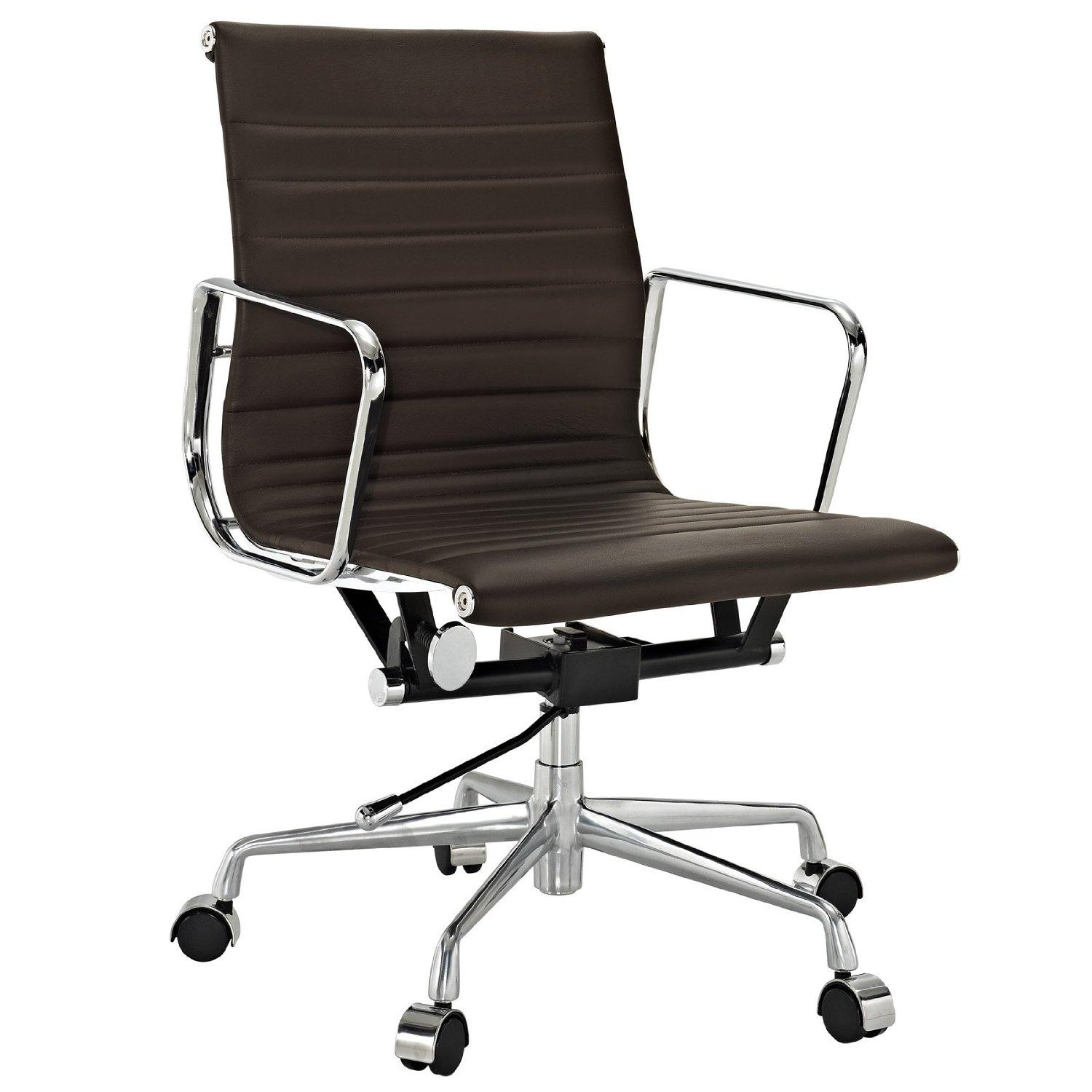 Lexmod Ribbed Mid Back Office Chair In Brown