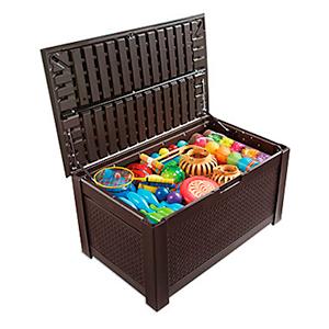 Rubbermaid Patio Chic Plastic Storage Bench Dark Teak Basket Weave 1837304