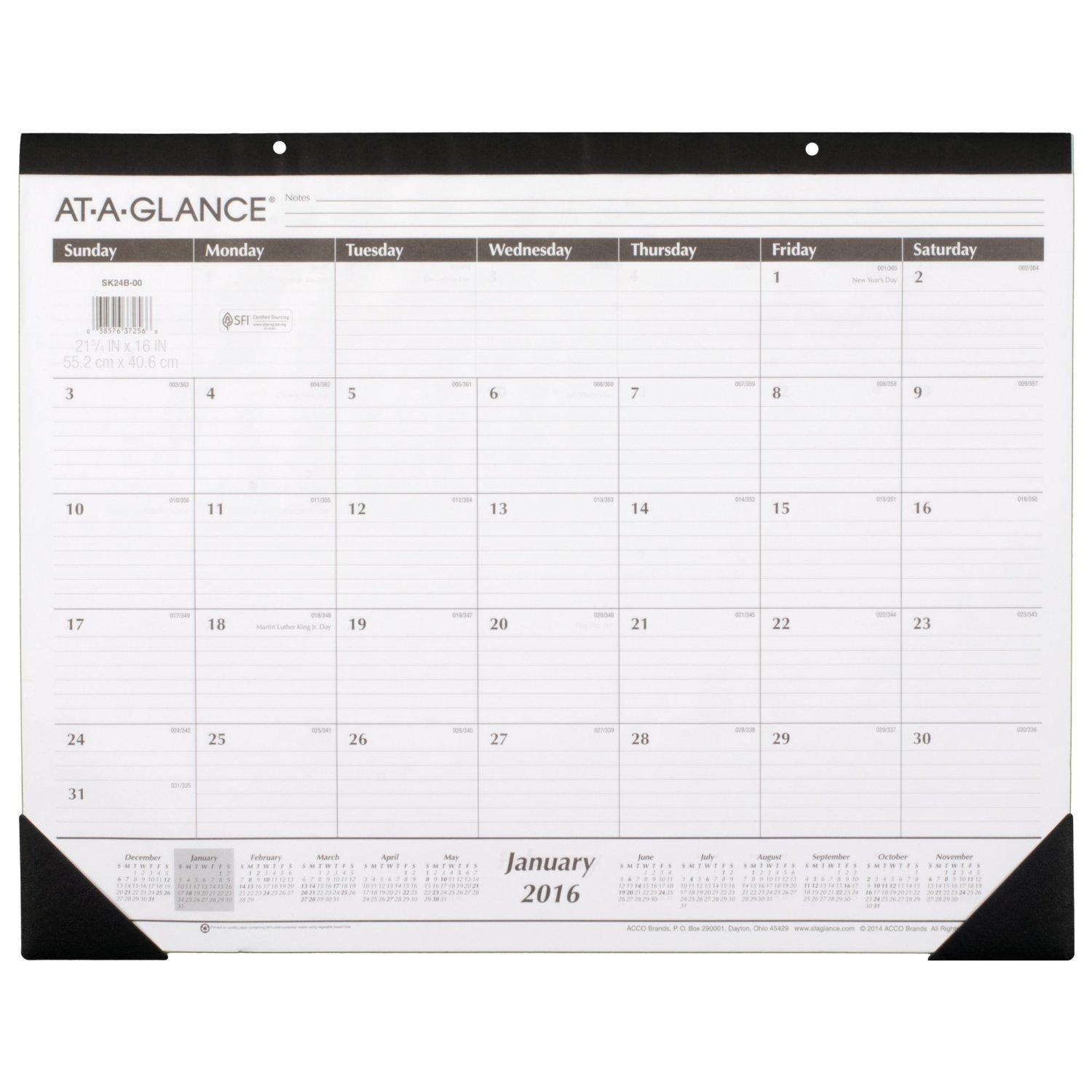 Amazon Com At A Glance Monthly Desk Pad Calendar 2016