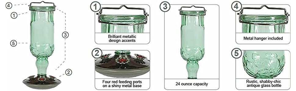 Perky-Pet 24 oz. Green Antique Bottle Hummingbird Feeder