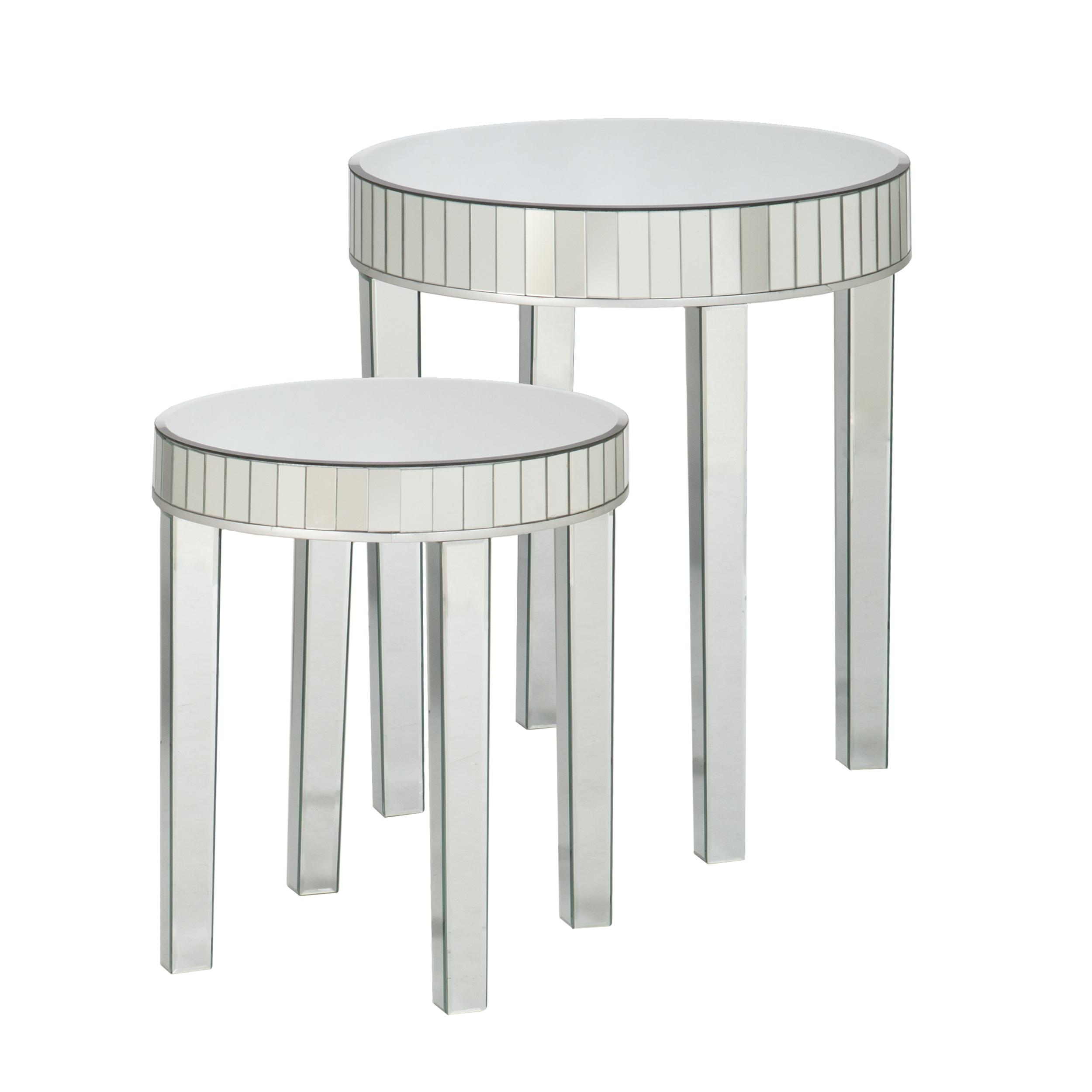 Round Mirrored Nesting Table 2pc Set Kitchen Dining