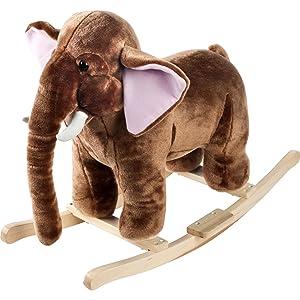 elephant, mammoth, brown, tusks, rocker, rocking, animal, kids, toy