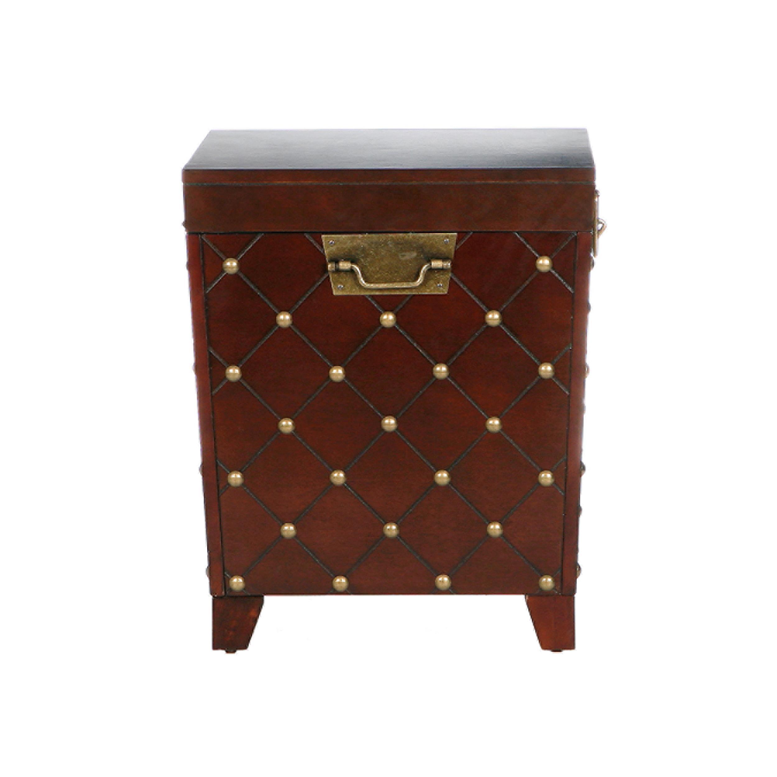 Sei Espresso Nailhead End Table Trunk Storage Trunk