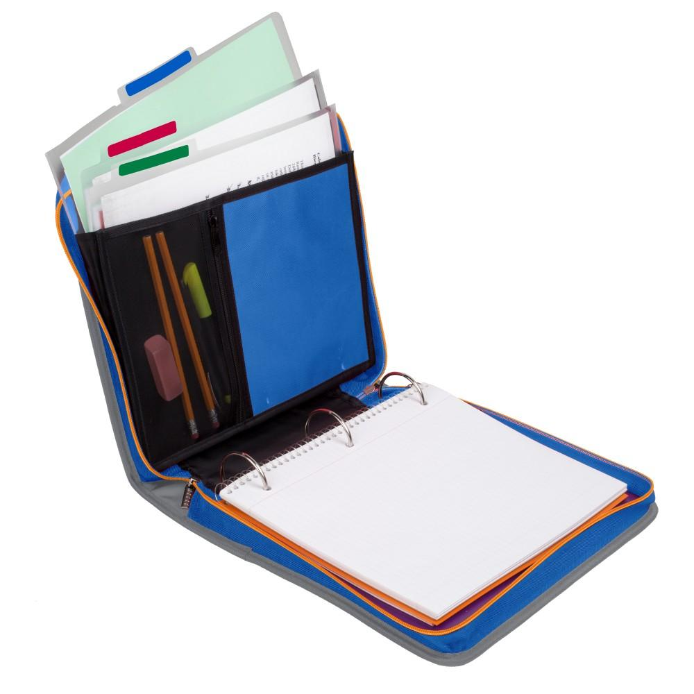 """Five Star 2"""" Zipper Binder with Handle, Includes 3 Removable File"""