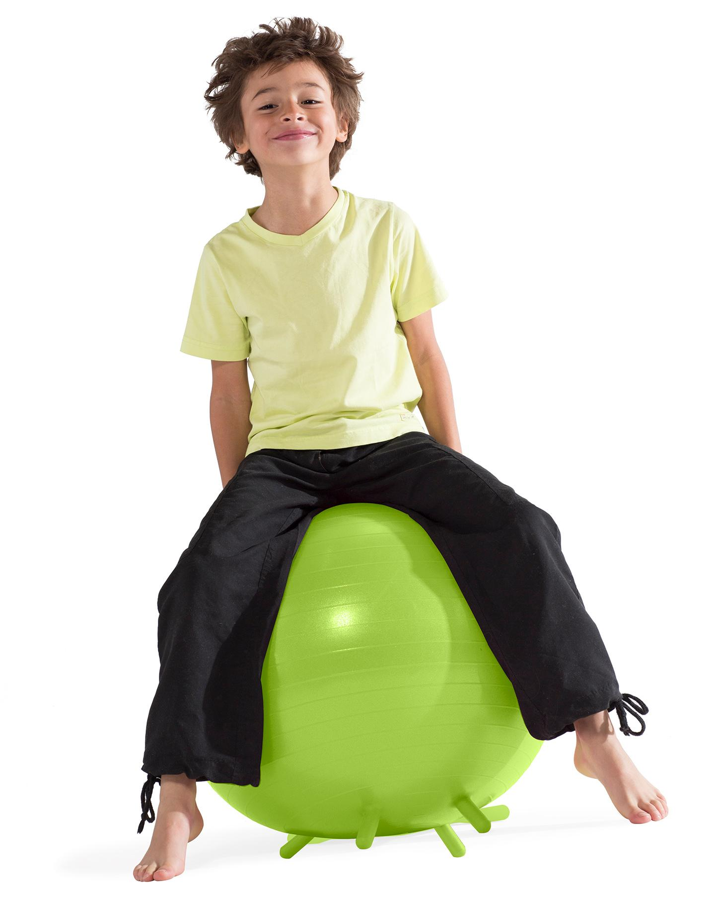 Gaiam kids stay n play balance ball lime for Child on chair