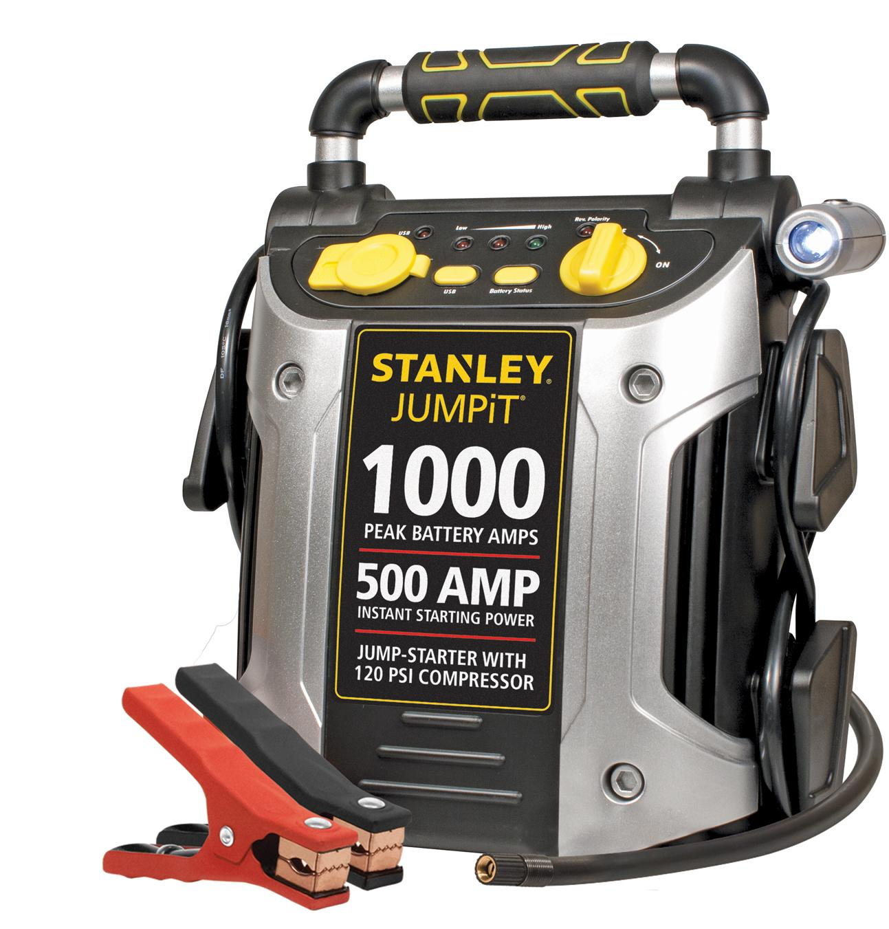 1000 peak amp stanley jump starter compressor car start battery emergency cold ebay. Black Bedroom Furniture Sets. Home Design Ideas